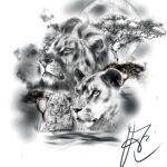 QueegQueg Tattoo Sketch Lion Family
