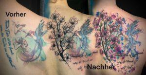 QueegQueg Tattoo Cover up Hummingbird