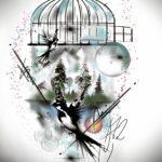 QueegQueg Tattoo Sketch Birdcage